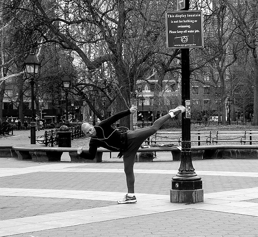 New York City.  Kicking out in Washington Square