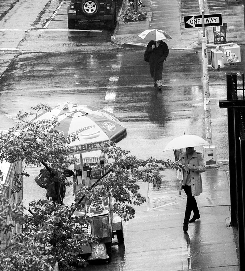 New York City.  Three Umbrellas