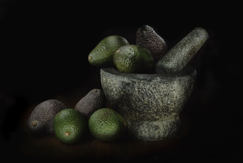 Still Life - Pestle & Mortar Avocados